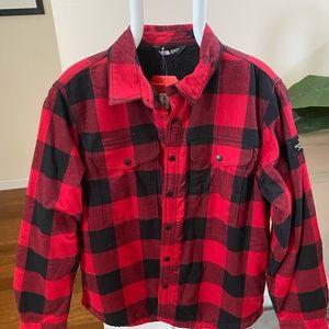 New North Face Men's Fur Red Plaid Shirt Top Sz L